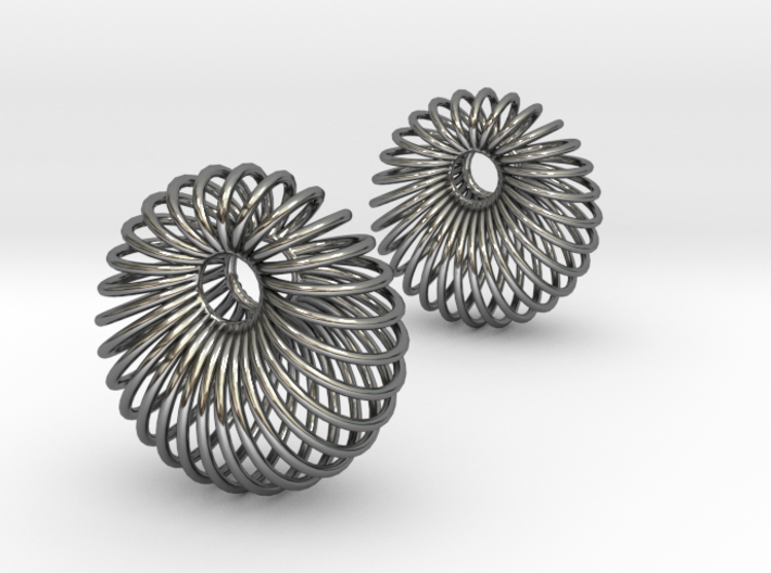 Wired Beauty 6 Hoop Earrings 30mm 3d printed