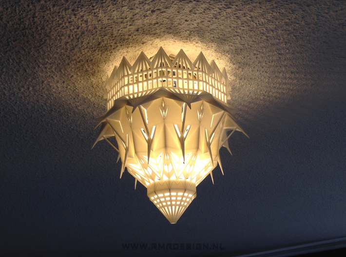 Bahai future world temple ceiling lamp 3d printed Bahai Temple Ceiling Lamp