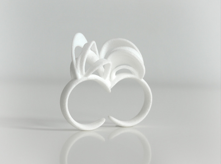 Ribbon Double Ring 7/8 3d printed White