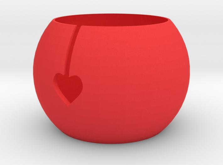 Funky Heart Knitting Bowl 3d printed