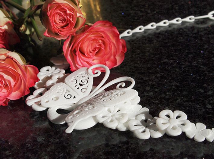 Butterfly spring flower necklace 01 3d printed