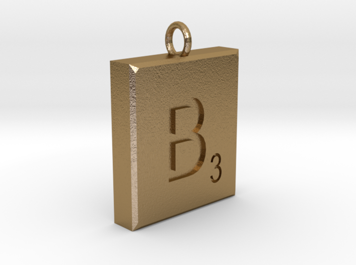 Scrabble Charm or Pendant B blank back Pendant 3d printed