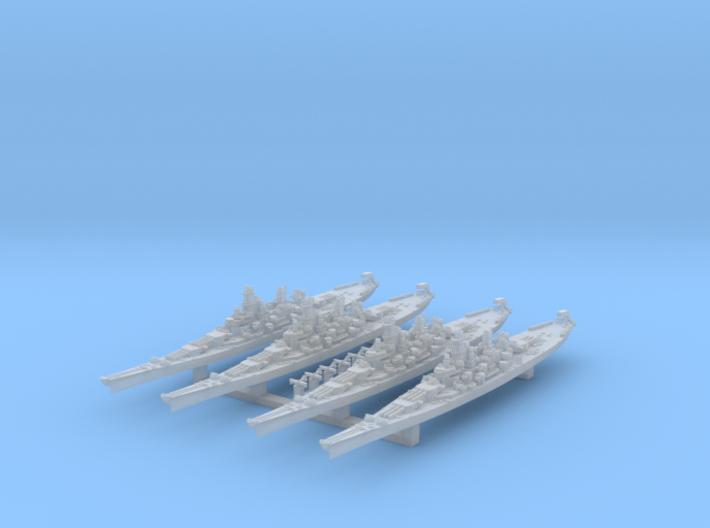 WWII US 1/4800 Iowa class battleships (x4) 3d printed