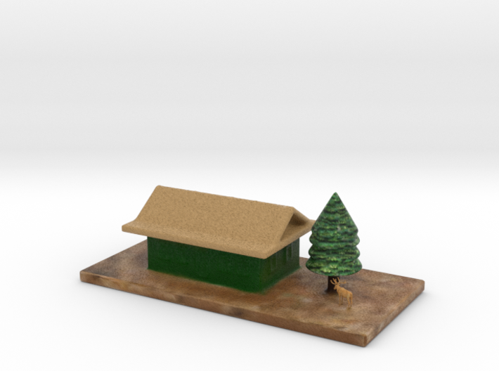 Cartoon House Chrismas Tree & Deer Full Color 3d printed