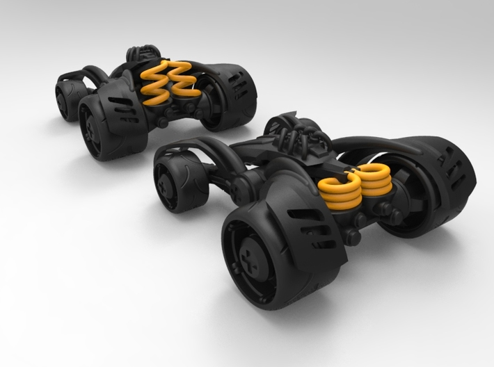 ~Double Shock Car 3d printed Not accurate colors! Springs are rendered so you can see the function