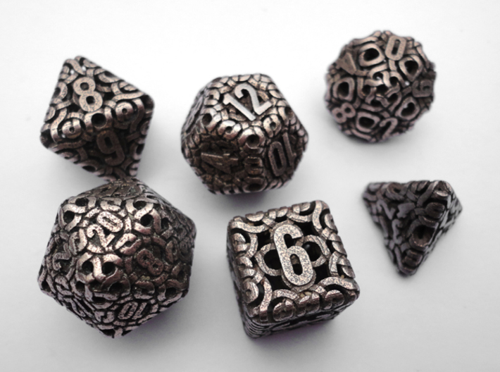 Ring Dice Set 3d printed In Stainless Steel