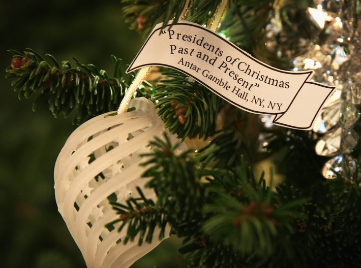 Signed - Presidents Of Christmas Past & Present 3d printed 3D Printed & Hanging on a White House Christmas Tree. | Credit: Vogue.com | Photo: Alex Wong