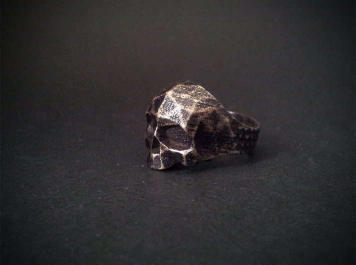 Polygonal Skull Ring  3d printed On the real picture surface was hand polished to highlight the edges