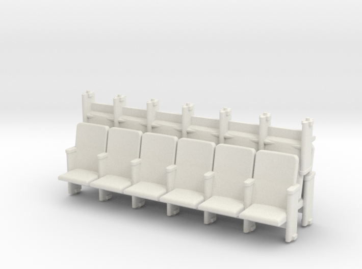 6 X 3 Theater Seats HO Scale 3d printed