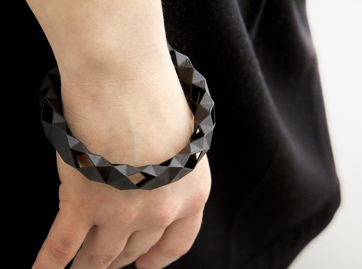 Medium Size - Polygonal Bracelet 3d printed Painted (clear satin)