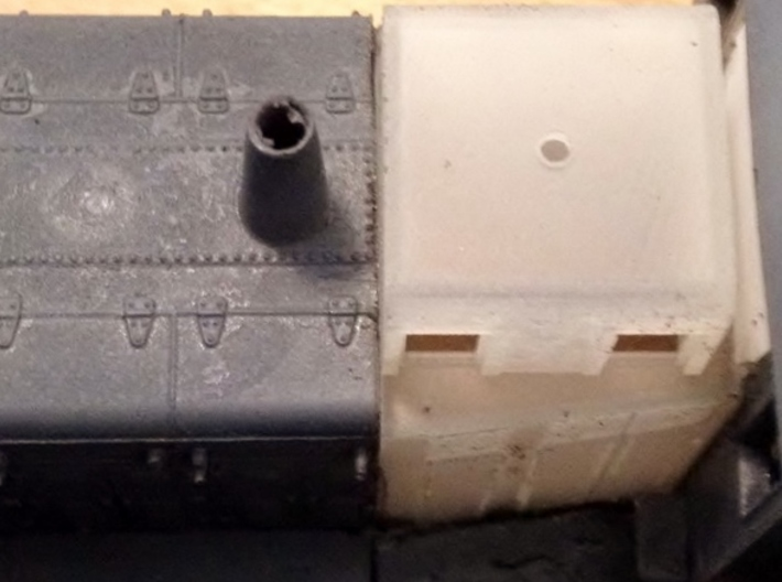 HO-Scale UP TR-5 Dynamic Brake Box 3d printed Where to cut the Athearn shell. Model & Photo by Jeff Davis.