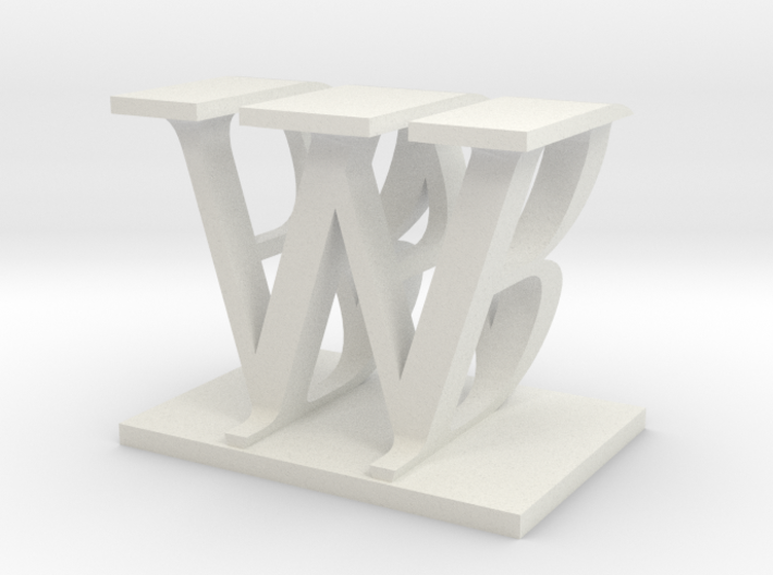 Two way letter / initial B&W 3d printed