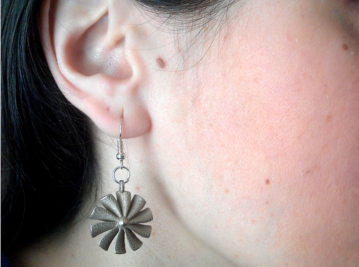 Turbine earrings 3d printed Stainless Steel
