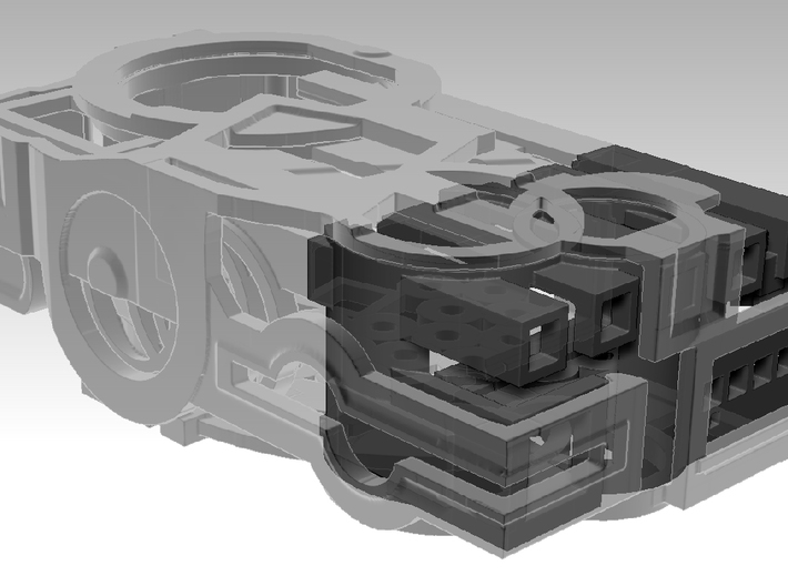 Crank Case Top _ Part1of3 _ by Dallas Good 3d printed This shows how all three parts work together. Each of the three pieces (shown here) are sold separately.