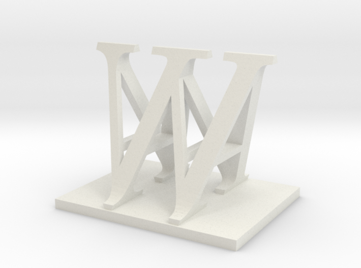 Two way letter / initial A&W 3d printed