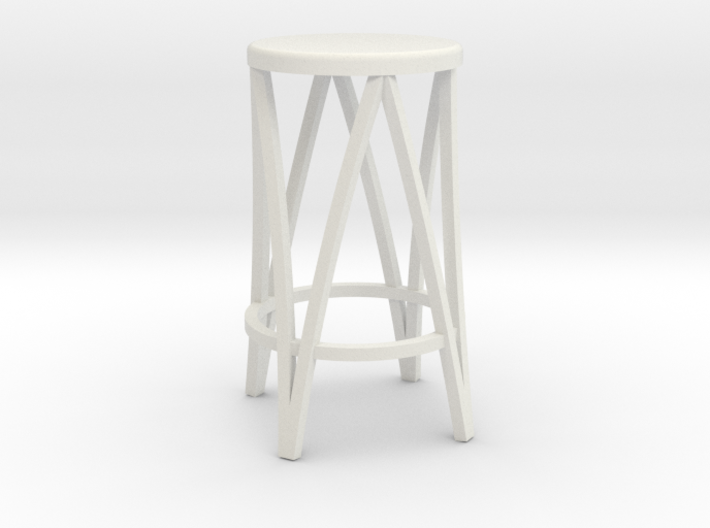 Miniature 1:24 Metal Stool 3d printed