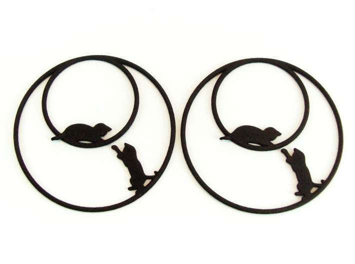 Playing Cats Hoop Earrings 50mm 3d printed Playing Cats Hoop Earrings 50mm printed in Black Strong & Flexible.