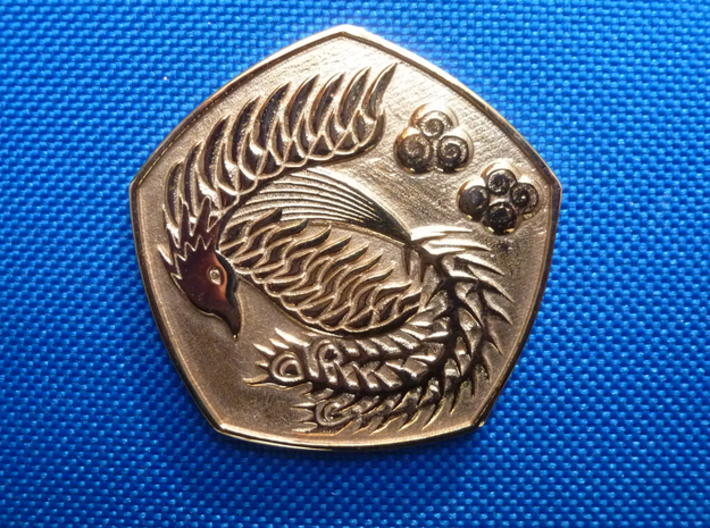 Polished Dragon Coin 3d printed phoenix side