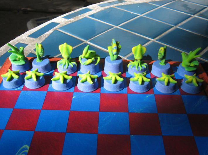 Sea Chess Pieces - Small 3d printed Blue/green pieces