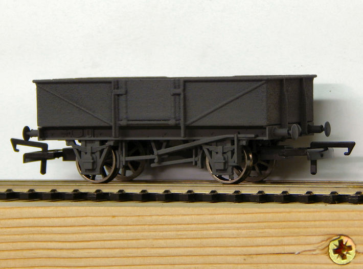 00 GWR O30 Steel Bodied Open Goods Wagon 3d printed An example of the body fitted to a Dapol Chassis (later not supplied) after painting