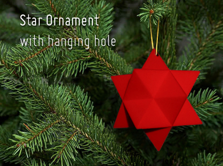 Star Ornament with hanging hole 3d printed