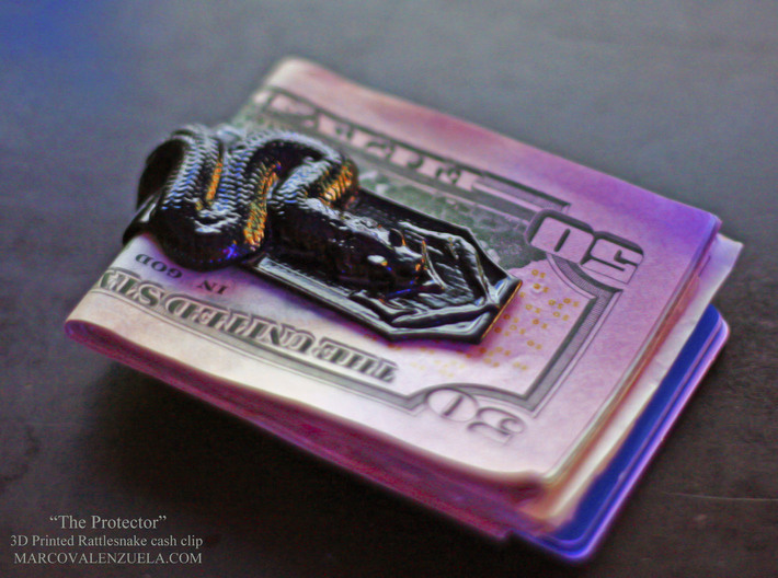 """""""The Protector"""" Rattle snake Cash clip 3d printed"""