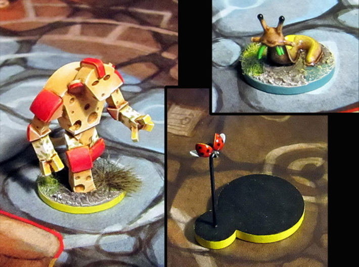 Cheese Golem, Ladybug, 4 Slugs 3d printed Models hand-painted, after quick filing and assembly. (game board with flagstones copyright Plaid Hat Games).
