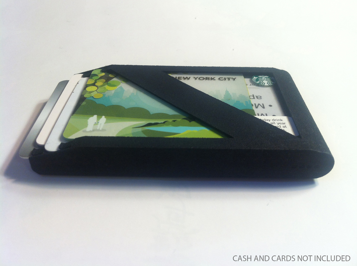 Stagger Wallet 3d printed Photo of other side of wallet with cash and cards
