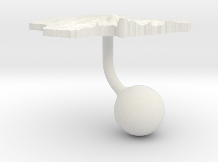 Nigeria Terrain Cufflink - Ball 3d printed