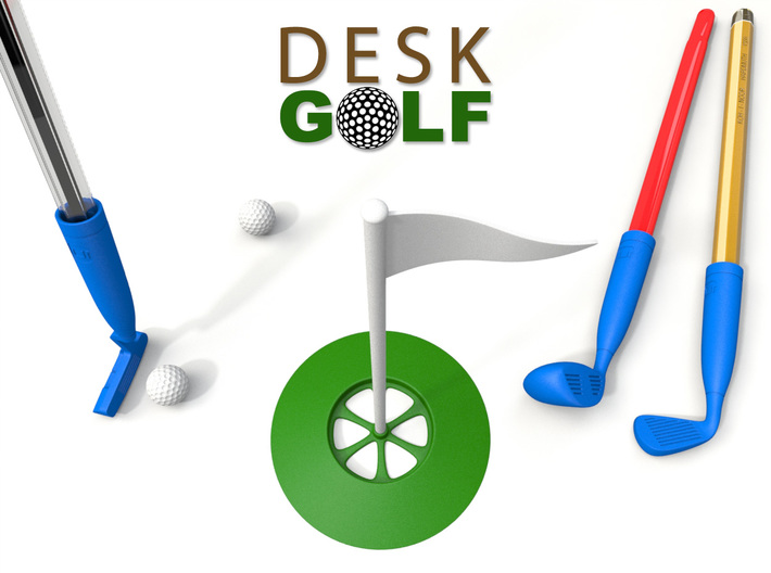 Desk Golf (BASIC SET) 3d printed Set in blue, white, and green. Get your set like this at the button below.