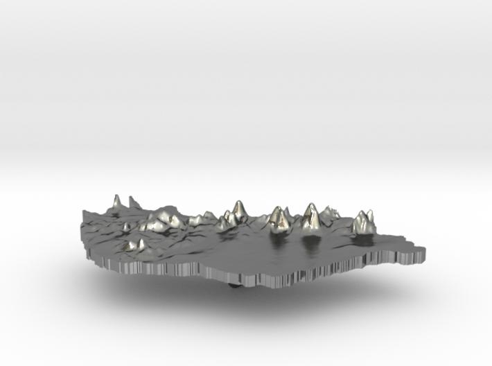 Hungary Terrain Silver Pendant 3d printed