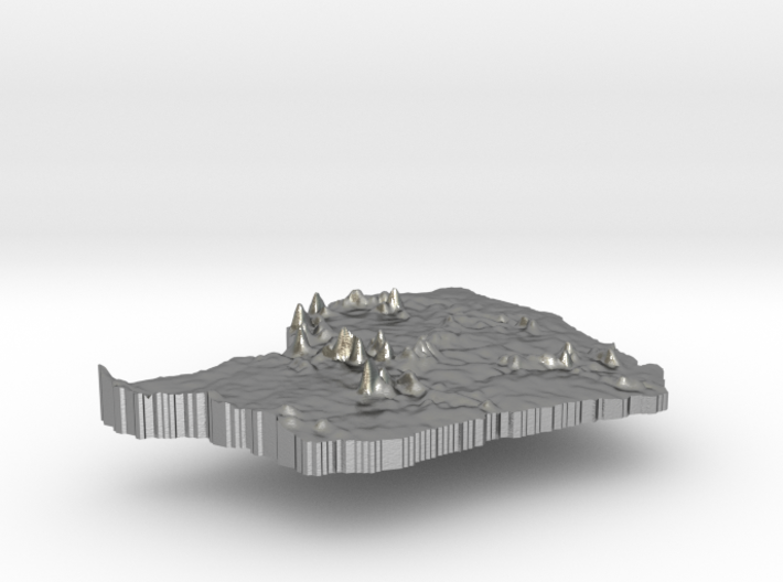 French Guiana Terrain Silver Pendant 3d printed