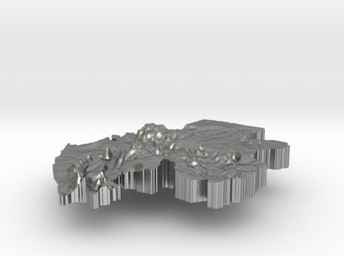 Gabon Terrain Silver Pendant 3d printed