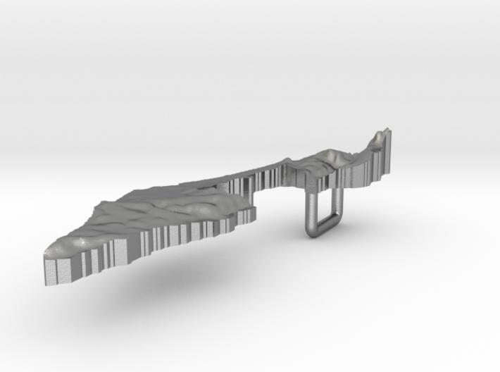 Israel Terrain Silver Pendant 3d printed