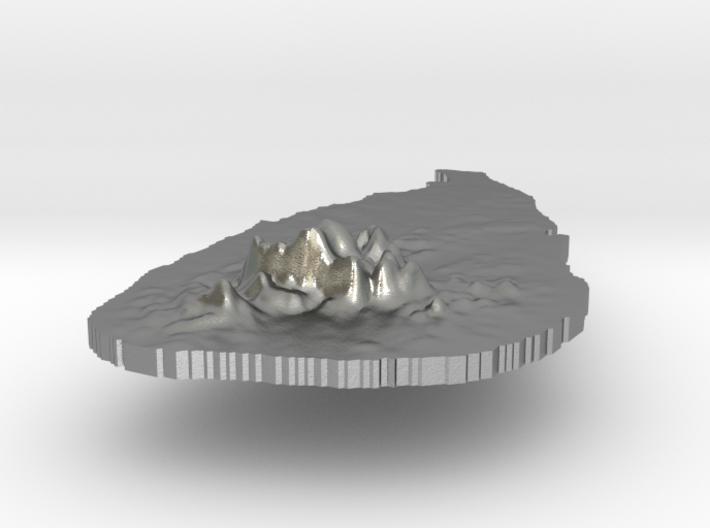 Sri Lanka Terrain Silver Pendant 3d printed