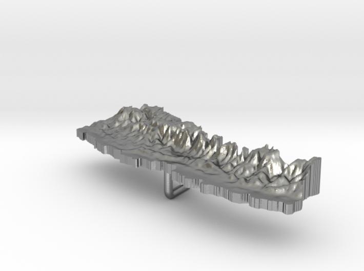 Nepal Terrain Silver Pendant 3d printed