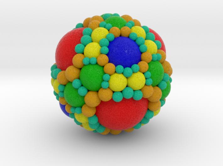 Spherical fractal: apollonian sphere packing 3d printed