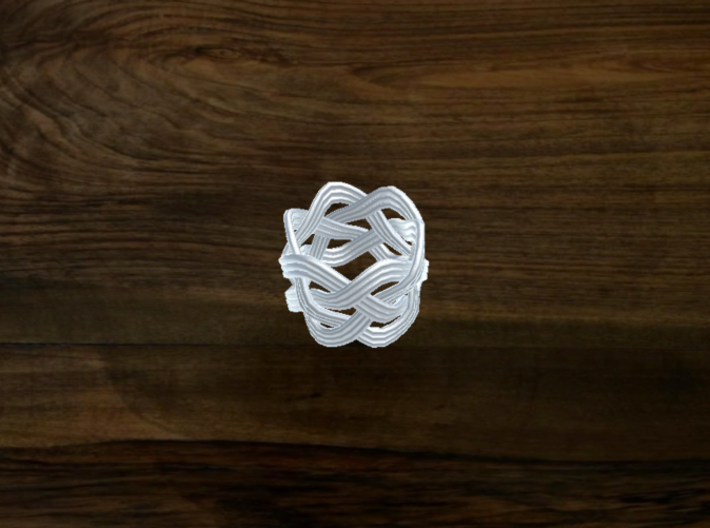 Turk's Head Knot Ring 4 Part X 6 Bight - Size 0 3d printed