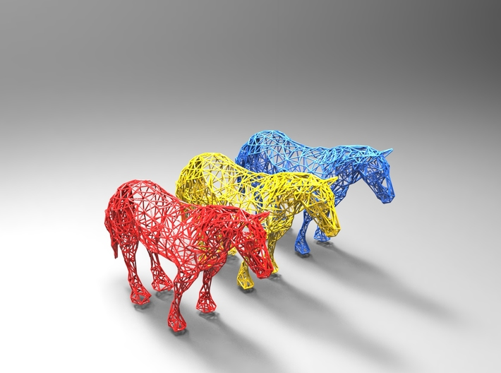 Wireframe Horse 3d printed