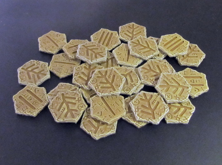 Elder Sign tokens (30 pcs) 3d printed Hand-painted White Stong Flexible.