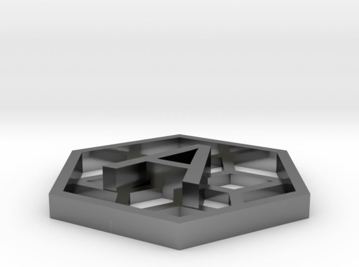 Hexagone with A / Hexagone avec un A en relief 3d printed