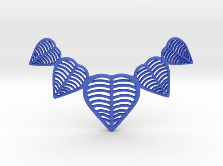 Leafy heart pendant / Necklace 3d printed