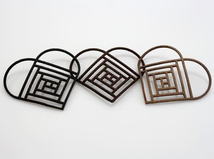 Quilt Block Log Cabin Pendant - Heart Edition 2 3d printed (From Left to Right) Matte Black Steel, Polished Bronze Steel, and Stainless Steel
