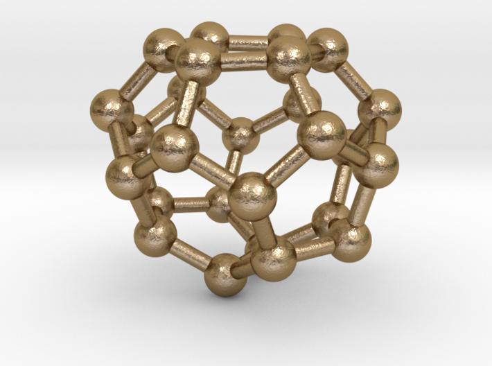0003 Fullerene c26 d3h 3d printed Polished Gold Steel