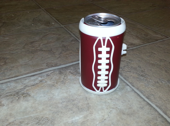Football Laces Koozie 3d printed On a standard pop/beer can.