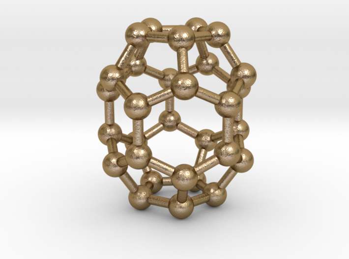 0006 Fullerene c30-1 3d printed Polished Gold Steel