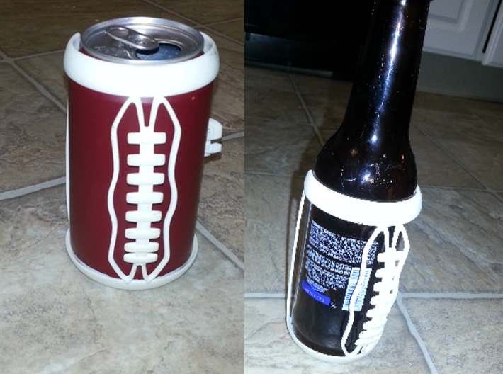 Football Laces Koozie 3d printed Shown on a can, or bottle