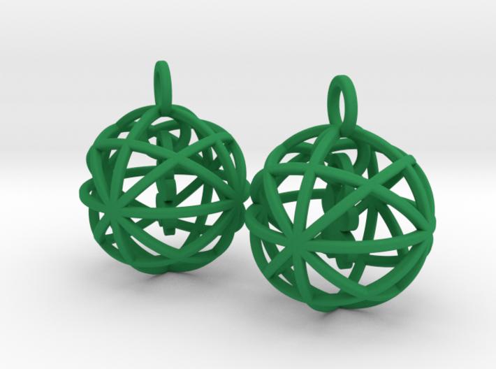 Clover in a Sphere Earrings 3d printed