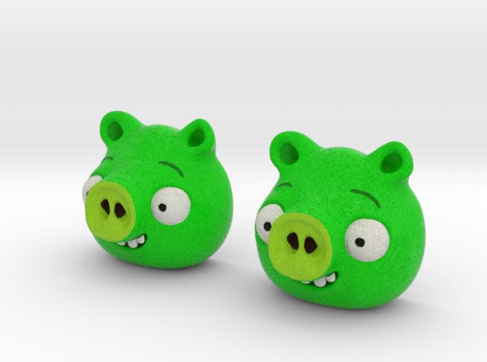 Pig earrings 3d printed