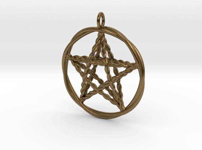 Pentacle pendant - woven 3d printed